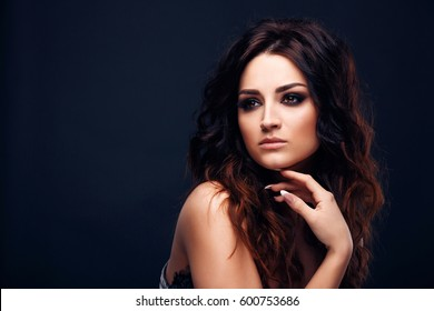 Close up portrait of beautiful woman, perfect makeup on beautiful face. Young woman beauty shoot