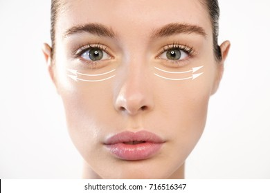Close up of a portrait of a beautiful woman who wants to lift face to remove wrinkles and skin rejuvenation using anti wrinkle creams or surgery. Concept of: surgery, creams.