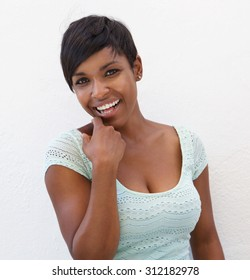 Close up portrait of a beautiful young black woman smiling