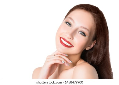 A close up portrait of a beautiful young woman. Beauty, cosmetics, skincare.