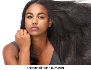 Close up portrait of a beautiful young woman with flowing hair