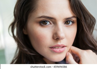 Close up portrait of beautiful young woman's face