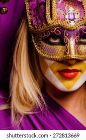 close up portrait of beauty young woman in venice mask