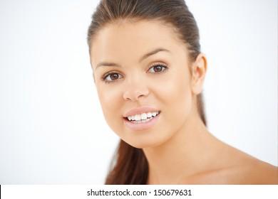 Close up portrait of brunette girl  she smiling