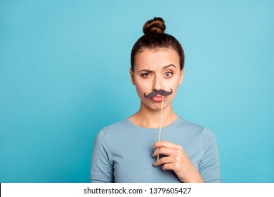 Close up portrait of carefree careless lady millennial hold hand make faces fool future actor actress have holidays dressed cotton fashionable clothing isolated on colorful background