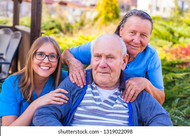 Close up portrait of carers and old man with varicose disease.