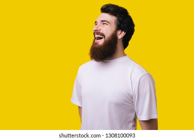 Close up portrait of cheerful middle aged man with beard standing and smiling over yellow background