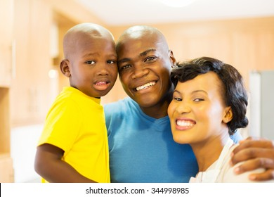close up portrait of cheerful young black family