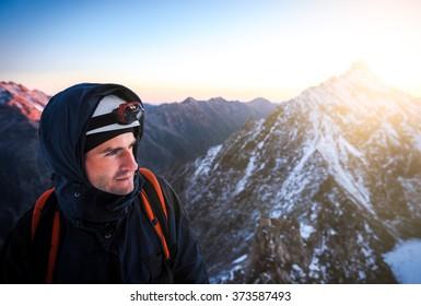 Close up portrait of climber