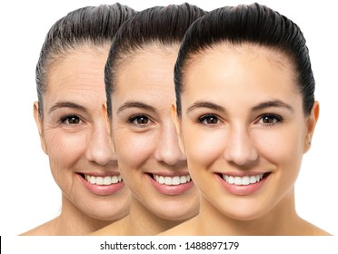 Close up portrait of conceptual young woman showing skin aging process. Three portraits of same girl with different ages and wrinkles.