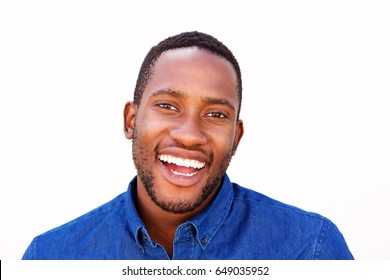Close up portrait of confident young african american man smiling against white background