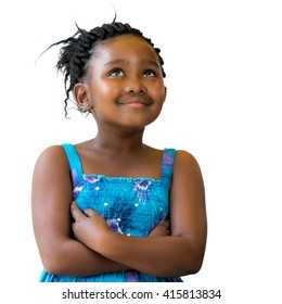 Close up portrait of cute african girl with braided hairstyle looking up.Isolated on white background.