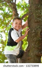 Close up portrait of cute boy climbing a tree.