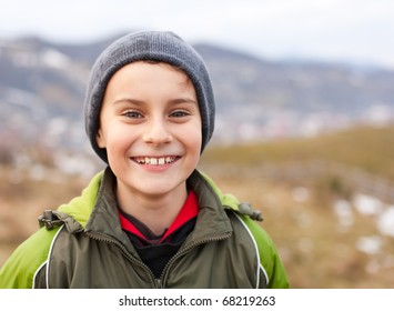 Close up portrait of a cute kid outdoor