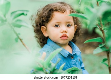 Close up portrait of a cute little girl outdoors