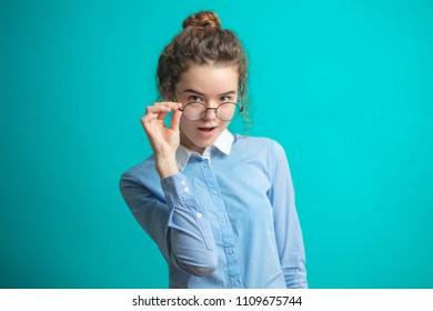 close up portrait of excellent pupil in glasses. honours student. school, education concept.genius child