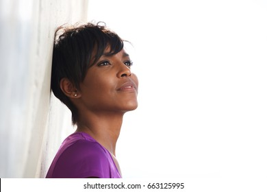Close up portrait of fitness woman standing outside and relaxing after exercising