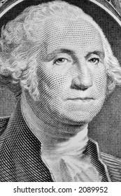 Close up portrait of George Washington on one dollar bill