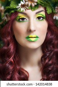 Close up portrait of a girl with creative makeup