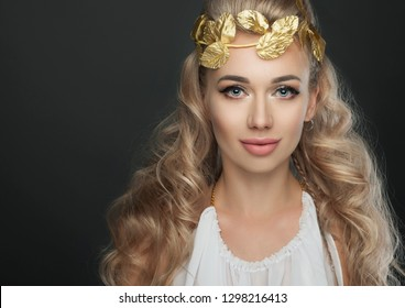 close up portrait goddess young woman on dark studio shot