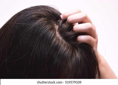 Close up portrait of the hair of a forty years old woman