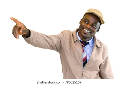 Close up portrait of handsome friendly  african businessman pointing with finger at corner.Isolated on white background.