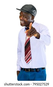 Close up portrait of handsome happy african businessman pointing with finger at camera.Isolated on white background.