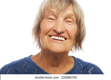 Close up portrait happy old woman, isolated on white