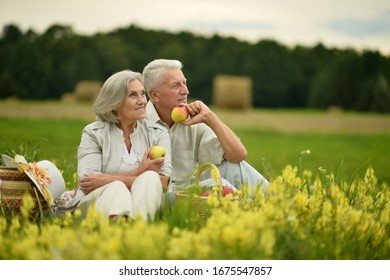 Close up portrait of happy senior couple on picnic