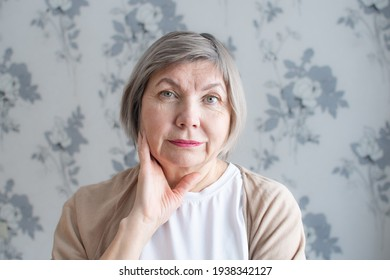 Close up portrait of happy senior woman with gray hair smiling is looking at the camera on the background of home interior.