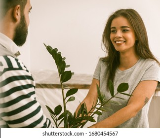 Close Up Portrait Of Happy Young Couple Relocated To New Flat, Man And Woman Smiling Holding Plant In Their Hands, Toned Image
