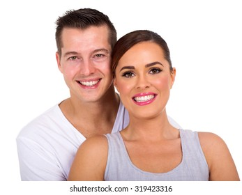 close up portrait of happy young couple