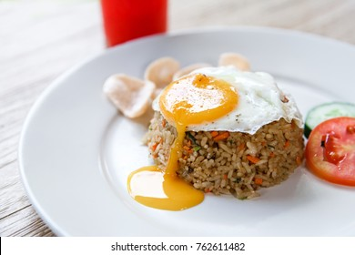 close up portrait of homemade indonesian fried rice