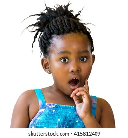 Close up portrait of little african girl with surprising face expression.Kid with open mount and one hand on cheek isolated on white background.
