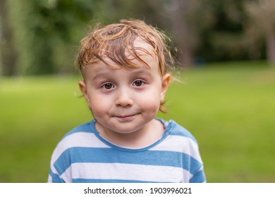 Close up portrait of a little smiling boy in the parks. Adorable child  of two years old with sweaty hairs in hot summer weather.