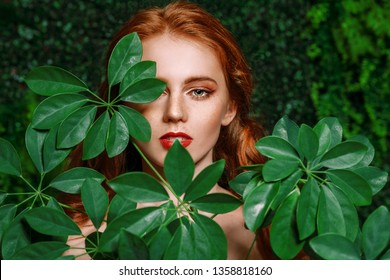 A close up portrait of a lovely mysterious girl with green leaves. Beauty, cosmetics.