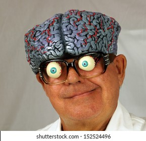 Close up portrait of a mad scientist, whose brain is coming out the top of his head