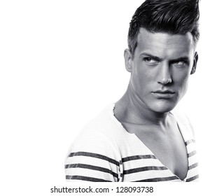 Close up portrait of male fashion model - black and white