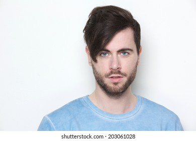 Close up portrait of a male fashion model with modern hairstyle