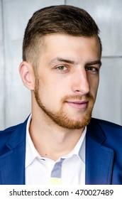 Close up portrait man in suit