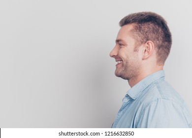Close up portrait of nice good-wearing gentleman stand isolated on light gray background with copy space for text make beaming toothy white smile