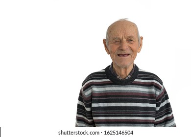 Close up portrait of an old male, man in casual clothes, senior smiles and shows his mouth without teeth, isolated over white background, copyspace for your text, studio photo
