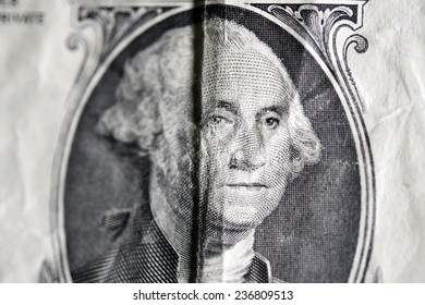 close up portrait of president Washington on an one dollar bill