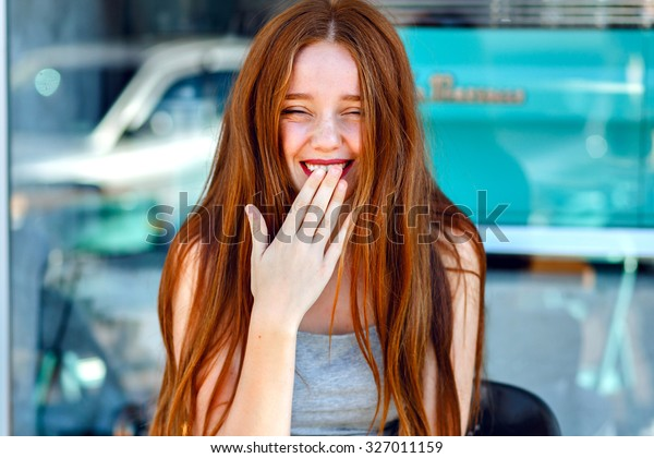 Close up portrait or pretty cute redhead girl , smiling and having fun, positive, vacation, emotions, natural fresh make up, beauty face.