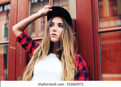 344de59489 Close up portrait of pretty girl with amazing long ombre hairs, black  sportive hat,