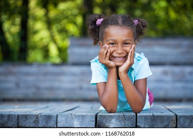 Close up portrait of pretty mixed race African-American little girl