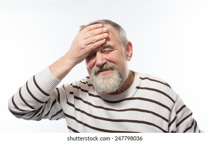 Close up portrait, senior mature man thinking, daydreaming, trying hard to remember something looking confused, . Negative emotion facial expressions. Short-term memory loss