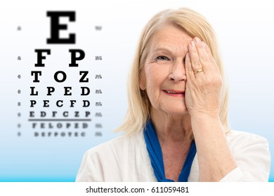 Close up portrait of senior woman testing vision Woman closing one eye with hand.Alphabet test chart with focus point in background.
