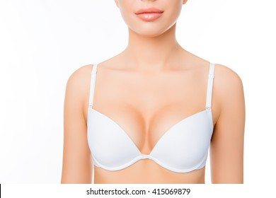 Close up portrait of shapely sexy woman in white bra