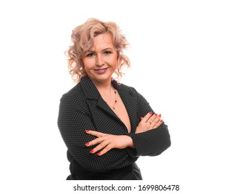 Close up portrait of a smiley middle-aged businesswoman over white background.